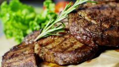 Organic Healthy Living Low Fat Flame Grill Beef T-Bone Steak BBQ Meal Option Stock Footage