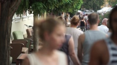 tourists chilling on the relax street - stock footage