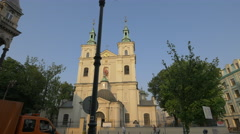 View of The Collegiate Church of St. Florian in Krakow Stock Footage