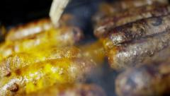 Gourmet Eating Takeaway Dining Fresh Meat Sausages Healthy Grilled Food Options - stock footage