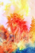 Beautiful watercolor palm trees Stock Illustration
