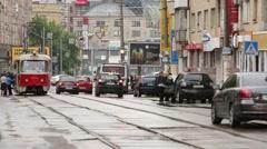 Kiev, Ukraine - May 15, 2014. Tram halt. Stock Footage