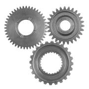 Three metal gears on plain background Stock Photos