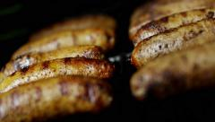 Healthy Living Food Cooking Fresh Organic Sausages Flavour Grill Barbecue - stock footage