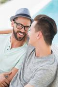 Happy homosexual couple looking at each other Stock Photos