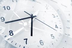 Clock faces and calendars composite Stock Photos