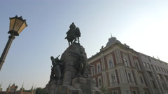 The Battle of Grunwald monument in Krakow Stock Footage