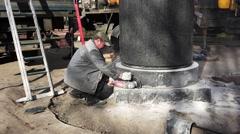 Mason grinder granite sawing. 4K Stock Footage