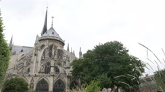 Famous Notre-Dame cathedral located in France capital Paris by the day  4K 21 - stock footage