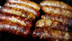 Flame Grilling Fresh Sausages Diet Living Appetite Protein Modern Appliance - stock footage