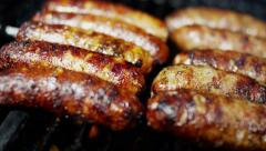 Organic Healthy Living Low Fat Flame Grill Meat Sausages Classic BBQ Meal Option Stock Footage