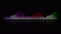 Dynamic music VU meters and waves. Multicolored. Seamless loop-able 4K Stock Footage