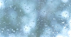 Water Rain drops on window glass wet weather Stock Footage
