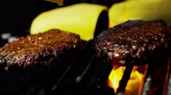 Fresh Organic Flame Grilled Beef Burgers Healthy Dining Choice Barbecue Cheese - stock footage