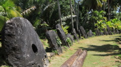Stone Money on the Island of Yap in Micronesia Stock Footage