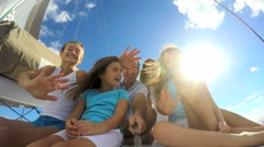 Loving Caucasian Parents Daughters Social Media Greeting Yacht Carefree Sailing Stock Footage