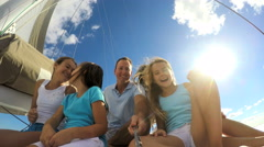Outdoor Casual Living Yacht Caucasian Parents Female Children Selfie Video Stock Footage