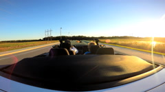 Outdoors Driving Cabriolet Convertible Couple Ambition Open Top Transportation - stock footage