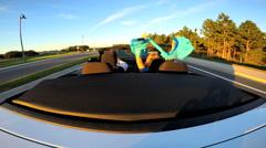 Luxury Cabriolet Rental Motor Car Speed Design Power Comfort Success Wealth - stock footage