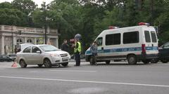 Car accident on Nevsky Prospect Stock Footage