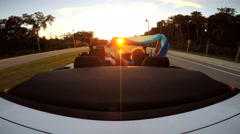 Outdoors Driving Cabriolet Convertible Couple Ambition Open Top Sunset Fun - stock footage