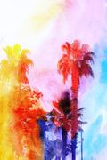 Stock Illustration of Beautiful watercolor palm trees