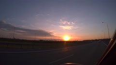 Evening sunset, highway, traveling by car. 4K - stock footage