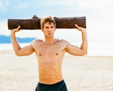 Male Athlete Exercising Outdoors - stock photo