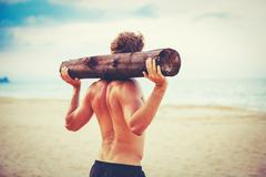 Male Athlete Exercising Outdoors - stock photo