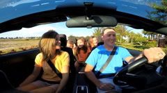 Caucasian Family Holiday Cabriolet Convertible Travel Tourism Driving Freedom Stock Footage