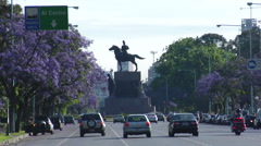 Buenos Aires Four Lane Traffic 03 - Military Statue Stock Footage