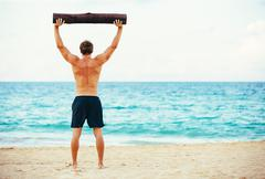 Male Athlete Exercising Outdoors Stock Photos