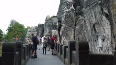 Bastei. Tourists at the stone bridge. Saxon Switzerland National Park Germany Stock Footage