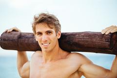 Male Athlete Exercising Outdoors Stock Photos