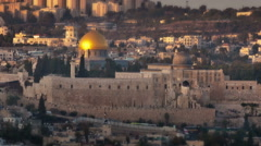 Time-lapse overlooking old city Jerusalem from the west of the city. Cropped. Stock Footage