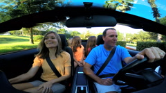 Summer Vacation Freedom Travel Destination Driving Caucasian Family Cabriolet - stock footage