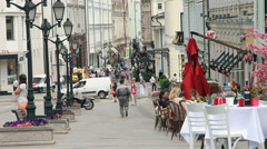 Stoleshnikov Lane in Moscow in the summer. Stock Footage