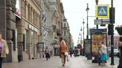 Nevsky Prospect,  main street in the city of St. Petersburg, Russia. - stock footage