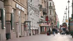 Tourists walking on Nevsky Prospect Stock Footage