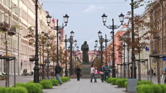 Monument to N.V.Gogol on Malaya Konyushennaya Street. Stock Footage
