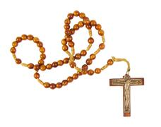 Wooden rosary beads and cross isolated on a white background Stock Photos