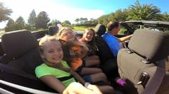 Happy Caucasian Family Pride Achievement Cabriolet Motor Car Fun Vacation Travel - stock footage