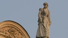 Woman statue on Juliusz Słowacki Theatre in Krakow Stock Footage