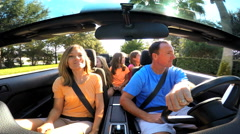 Summer Vacation Freedom Travel Destination Driving Caucasian Family Cabriolet Stock Footage