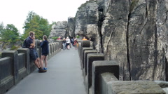 Bastei. Tourists at the stone bridge. Saxon Switzerland National Park Germany - stock footage