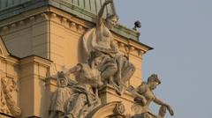 Statues on Juliusz Słowacki Theatre in Krakow Stock Footage