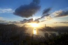 City at sunset Stock Photos