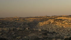 Sunset from behind shot of Jerusalem. Cropped. Stock Footage