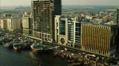 Aerial Dubai Creek Spice Port Dhow UAE - stock footage