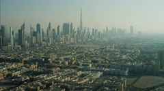 Aerial Cityscape Burj Khalifa Skyscrapers Dubai UAE Stock Footage